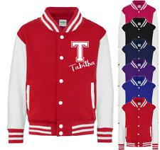 Personalised Initial & Name Kids Varsity Jacket American Style Collage Jacket