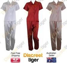 Womens Satin Pyjamas Silk PJs Short Sleeve Long Pants Pajamas Plus Size 6 - 26