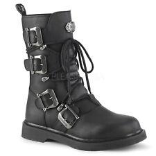 DEMONIA Bolt-265 Black Vegan Leather Heel Unisex Mid-Calf Lace-Up Front Combat