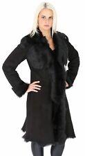 Womens Luxury Toscana Long Coat Real Sheepskin BLACK Shearling Suede Jacket NEW