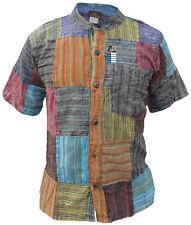 À Rayures Patch à manches courtes Grandad Hippie Tops été léger coton kurtas