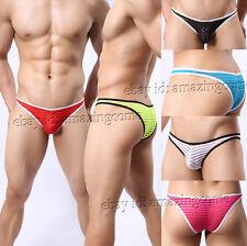 3PCS/Lot Men's Glazed Gauze Mesh Striped Bikini Briefs Underwear Thong Brief