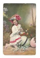 EASTER Postcard Girl Giant Eggs Flower Hat Tulips Vtg