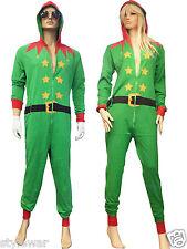 ADULT CHRISTMAS UNISEX XMAS BED SLEEP PAJAMAS 1ONESIE NIGHTWEAR ELF SANTA GREEN