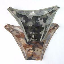 K3780 Sexy Mens Underwear Briefs Bikini C-thru Mesh Camo Camouflage print