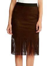 Karen Kane Brown Stretch Faux Suede Fringe Skirt - MSRP $79