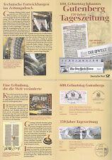 BRD 2000: Tageszeitung-Erinnerungsblatt Gutenberg-Paar Nr 2098 +  Nr 2123! 1612
