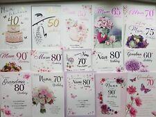 Mum Nan Nana Nanny Grandma Birthday Card Age 40th 50th 60th 70th 80th 90th