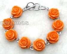 """Fashionable16mm Orange Rose coral Adjustable 7"""" to 8.3"""" Bracelet for Women-b220"""