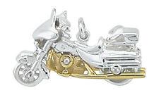 925 Silber Anhänger Motorrad Harley Davidson Biker Herren bicolor Panzerkette