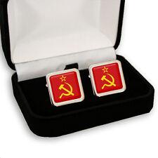 SOVIET UNION FLAG HAMMER & SICKLE MEN'S CUFFLINKS GIFT ENGRAVING