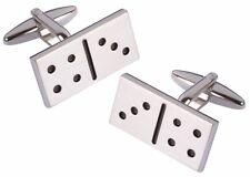 Lucky Seven 7 Domino Casino Gambling Silver Rhodium Cufflink By CUFFLINKS DIRECT