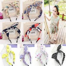 Women Flower Cloth Hairband Butterfly Bow Knot Hair Hoop Rabbit Ears Headband