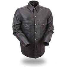 First Manufacturing Men's Lightweight Leather Shirt (Black)