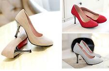 Zapatos de salón mujer talón 8.5 cm disp en 3 colores plata oro rojo 8444