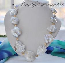 z4897 Big 40mm white baroque keshi reborn pearl necklace 23inch