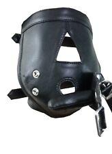 Men Ladies Mask Black Leather Padded Hood Blindfold Gag Bondage