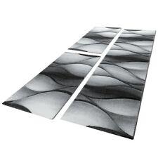 Bettumrandung Teppich Abstrakt Wellen Optik Grau Anthrazit Läuferset 3 Tlg