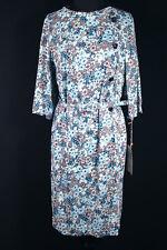 VINTAGE RESTOS DE STOCK 597ms Sedoso Poliéster Vestido Con Estampado Floral