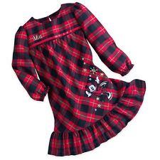 Disney Store Minnie Mouse Girl Plaid Nightgown Christmas Holiday Gift Pajamas