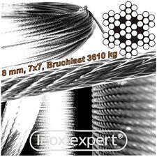 VA-Seil 8,0 mm 7X7 Drahtseil Edelstahl A4 Stahlseil NIROSTA Seilzug NIROSEIL V4A