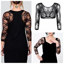 Women Lace Sheer Jacket Shrug Bolero Crop Top Shirts 3/4 Sleeve Cardigan Outwear