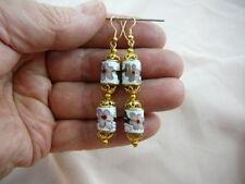 (EE604-280) 8 x 12 mm White pink flower CLOISONNE 2 bead dangle drum EARRINGS
