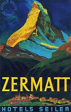 """""""hoteles Seiler Zermatt Suiza"""" Vintage Poster Publicitario a1a2a3a4sizes"""