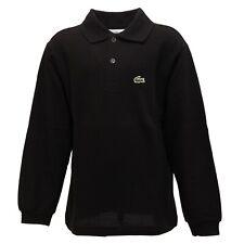 4316R polo bimbo LACOSTE NOIR manica lunga nera long sleeve t-shirt kids