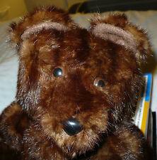 """LARGE 17"""" TALL VINTAGE MINK FUR TEDDY BEAR"""