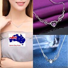 Women Fashion Crystal Pendant Choker Necklace Girls Love Heart  Jewelry Gifts