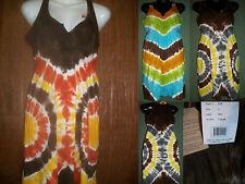 Womens Summer Beach Sundress Tie Dye Dress 100% Cotton Retail $50
