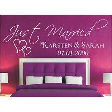 Wandtattoo Spruch  Just Married Datum Namen Hochzeit Wandaufkleber Wunschtext 1