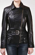 Black New Ladies Womens Retro Casual Designer Real Lambskin Biker Leather Jacket