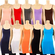 Extra Long Stretch Camisole Tank Top Spaghetti Strap Dress Slip Tunic Fits S M L