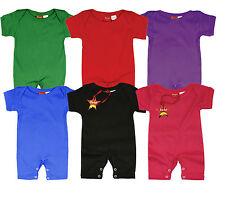Baby Short Sleeve Blank Plain Romper Grow Gro Summer 100% Cotton