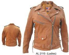 Womens  Nubuck Brown Premium Buffalo Leather Motorcycle biker Jacket Reg $229