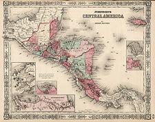 1864 Map Guatemala Honduras El Salvador Nicaragua Costa Rica Jamaica Wall Poster