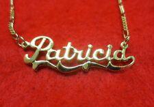 14kt Oro Ep 2mm Figaro Cavigliera o Collana con il Nome Patricia Ciondolo
