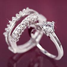 9K WHITE Gold GF 1CT LUXURY solitaire DIAMOND ANNIVERSARY WEDDING BAND RINGS SET