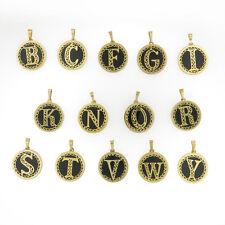 14 K Gold & Onyx Gemstone Initial Monogram Pendant - Authentic Stamped 14k