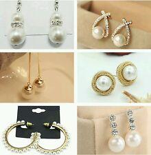 Pearl Crystal Drop Studs Fashion Bride Bridal Wedding Gold Silver Earrings