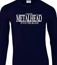 Metal Mens Long Sleeve T-Shirt - 100% Metalhead It's In The Blood Music Rock