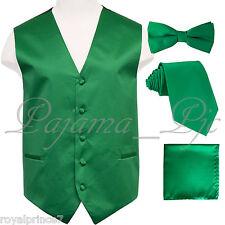 Emerald Green Tuxedo Vest Waistcoat & Neck tie Straight Cut Bow tie & Hanky 10JJ