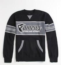 Famous Stars & Straps Fast Break Mens Black Pocket Crew Fleece Sweatshirt NWT