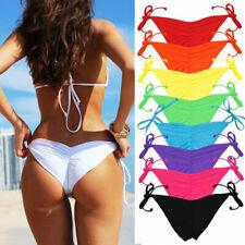 HOT Brazilian Scrunch Women V Thong Bikini Bottom Side-Tie Swimwear Beachwear