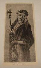 1886 magazine engraving ~ A PERSIAN PIPE BEARER WITH GALYAN