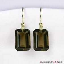 Solid 18k 14k Gold Premium Emerald Cut Smoky Quartz Drop Earrings Hook Leverback