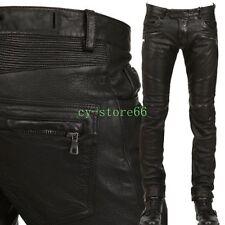 Mens Punk Zipper Slim Cargo Pants Leather Casual Rock Motorcycle Long Trousers