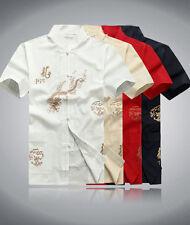 China Dragon Men's Kung Fu martial arts Tai Chi VestCoat T shirt Uniform clothes